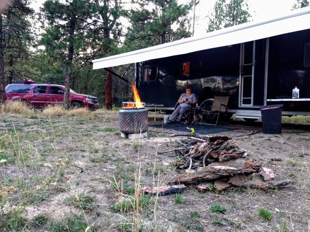 burning trash while camping