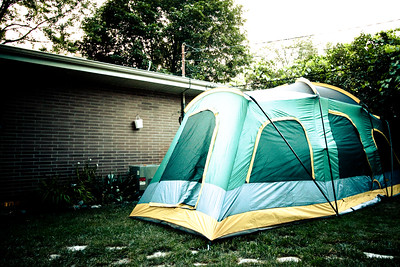 living in a tent in your backyard